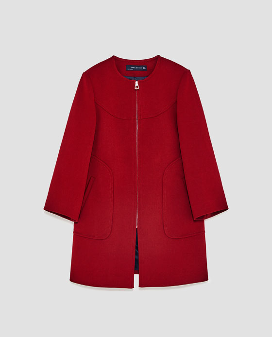 manteau rouge zara